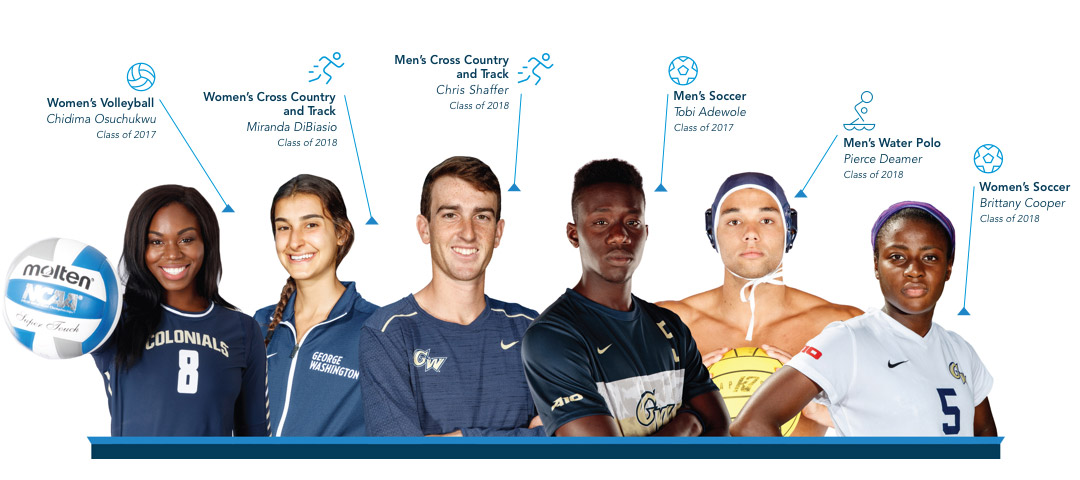 GW student athletes: Chidima Osuchukwu, Class of 2017 plays Women's Volleyball; Miranda Diblasio, Class of 2018 runs Women's Cross Country and Track; Chris Shaffer, Class of 2018, runs Men's cross country and track; Tobi Adewole, Class of 2017, plays Men's Soccer; Pierce Deamer, class of 2018 plays men's Water Polo; and Brittany Cooper, Class of 2018 plays women's soccer