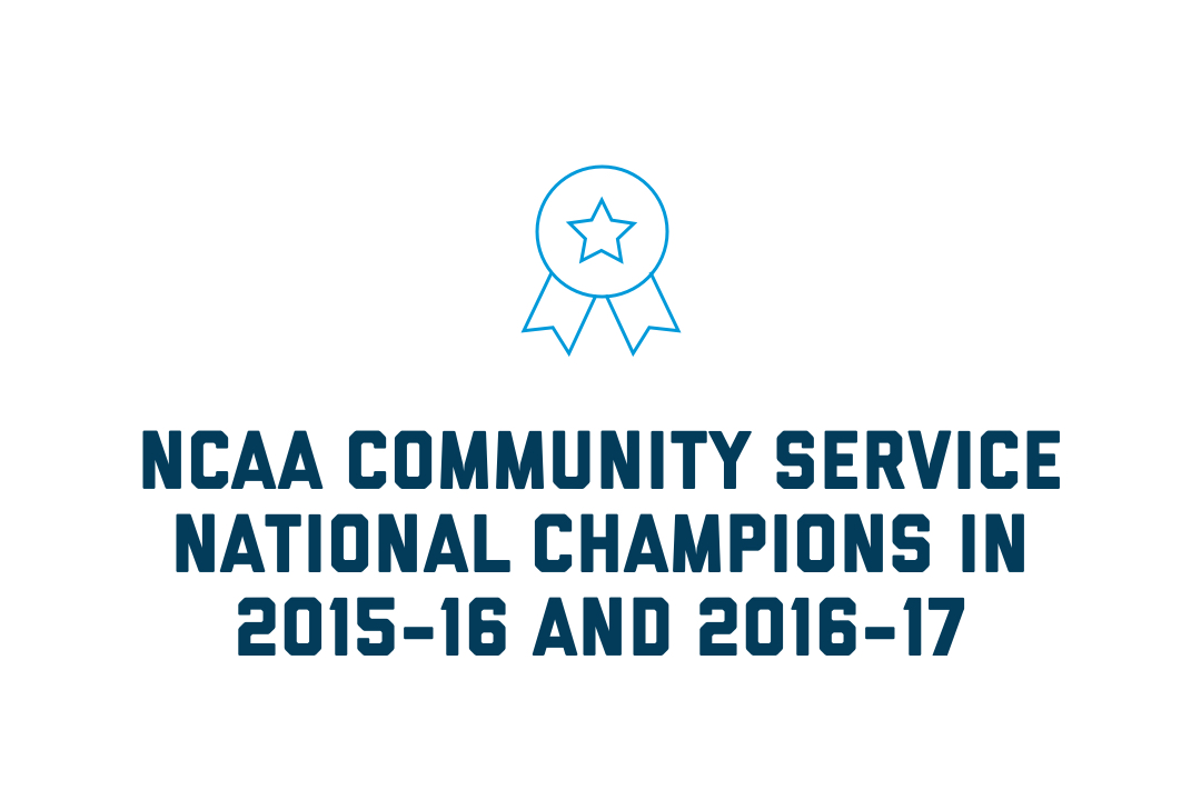 NCAA Community Service National Champions in 2015-16 and 2016-17