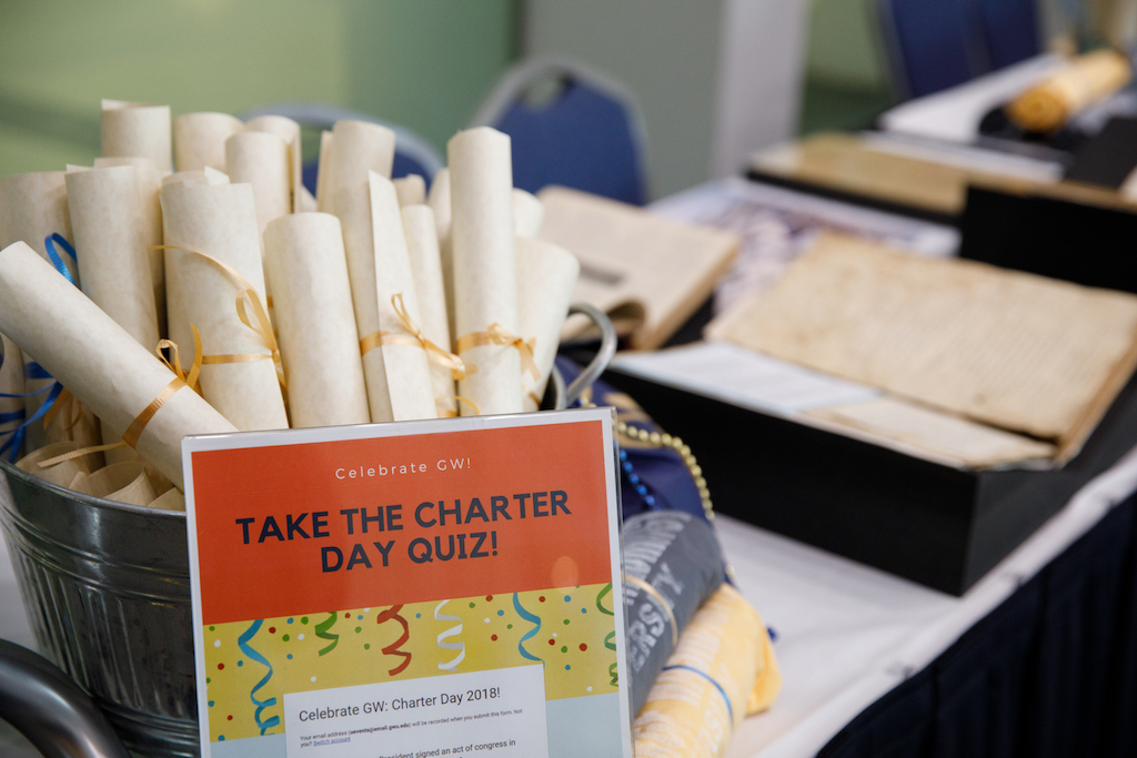 Charter Day Quiz with copies of GW's charter