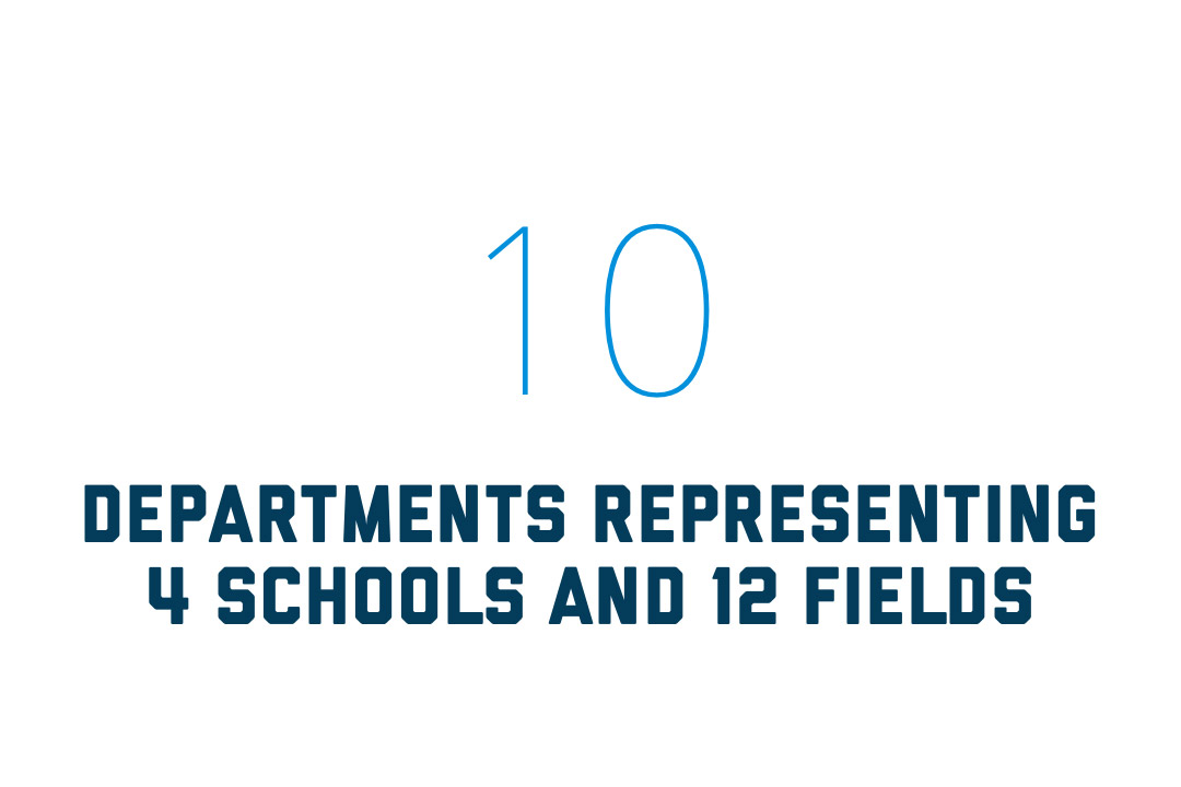 10 departments representing 4 schools & 12 fields