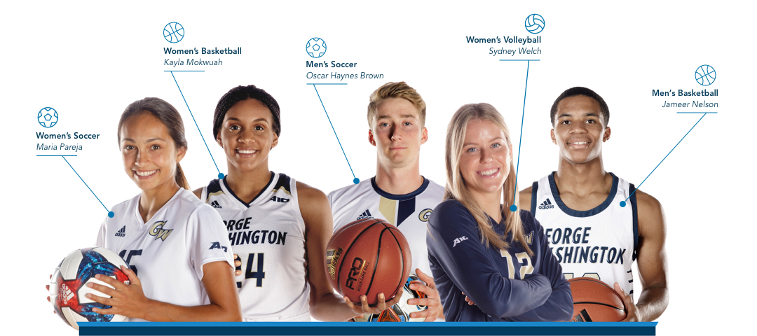 GW student athletes: Maria Parjea, Women's Soccer; Kayla Mokwuah, Women's Basketball; Oscar Haynes Brown, Men's Soccer; Sydney Welch, Women's Volleyball; Jameer Nelson, Men's Basketball