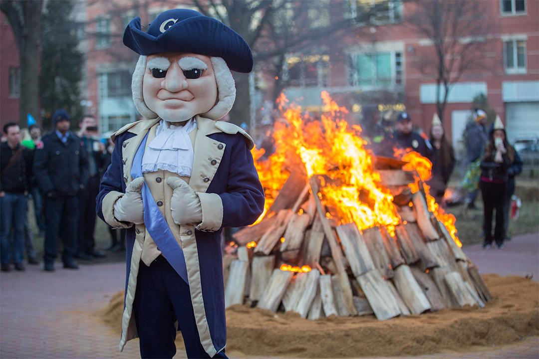 George Mascot in front of Celebrate GW Bonfire
