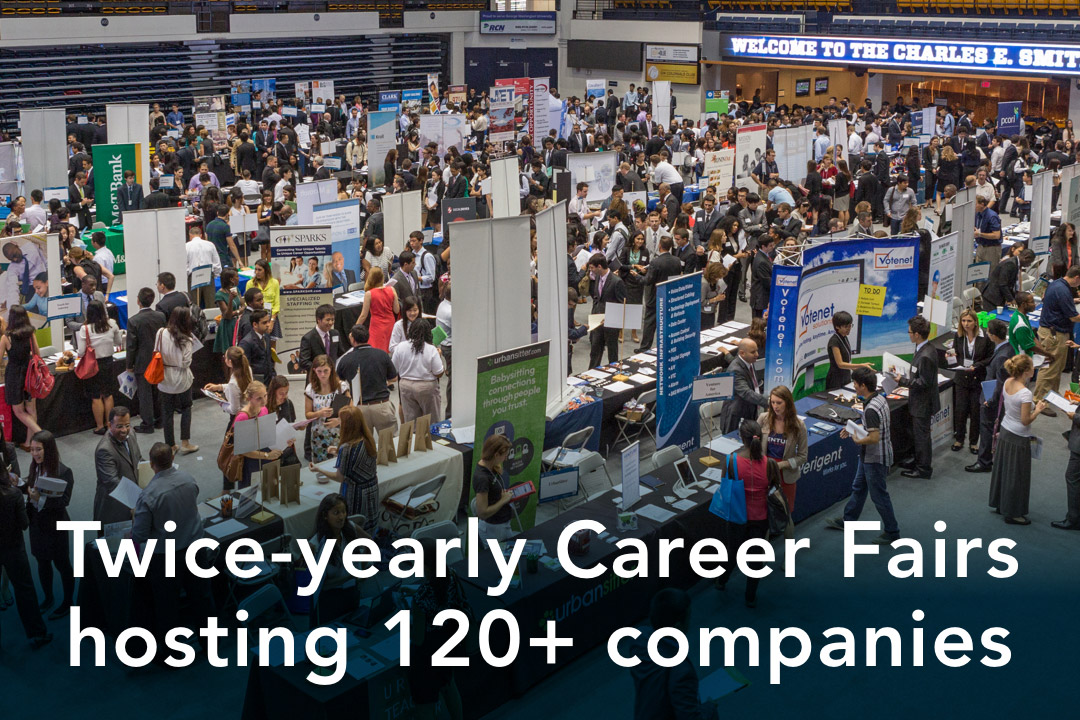 GW has twice-yearly career fairs hosting more than 120 companies
