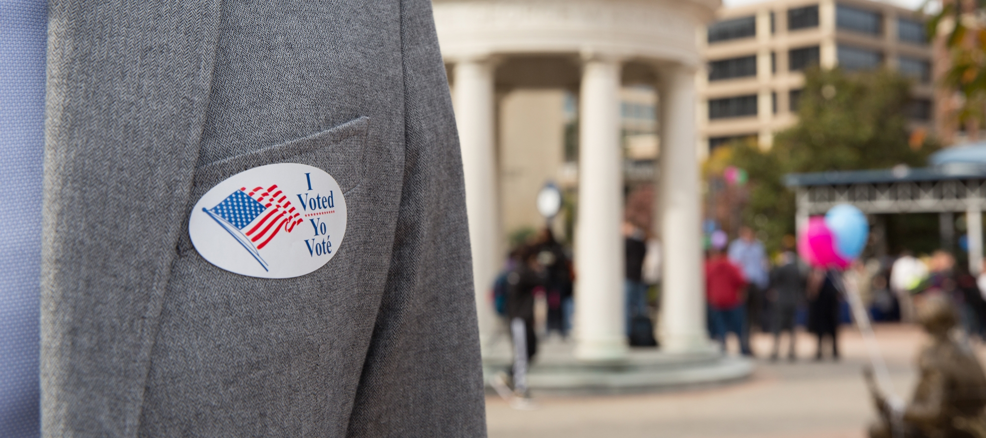 The George Washington University Cbs 12 Circuit Wiring Module I Voted Sticker Being Worn By A Person In Jacket