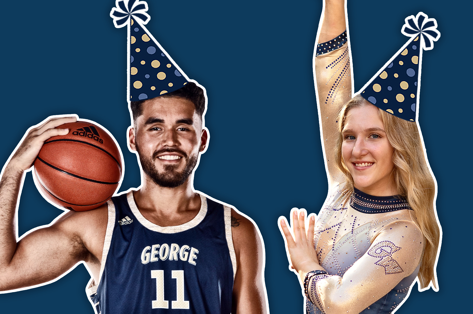 Basketball player and gymnast celebrating George's birthday