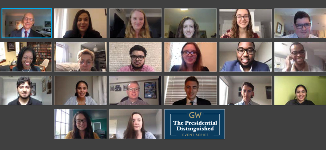 Virtual meeting room with Justice Breyer and students as part of the GW Presidential Distinguished Event Series