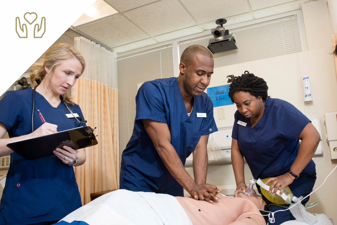 3 nursing students in a simulation lab on the Virginia Science & Technology Campus