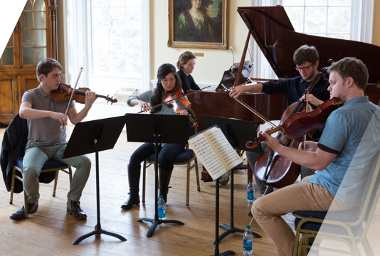 Student musicians playing on Mount Vernon Campus