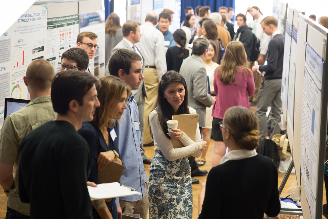a group of students at research days