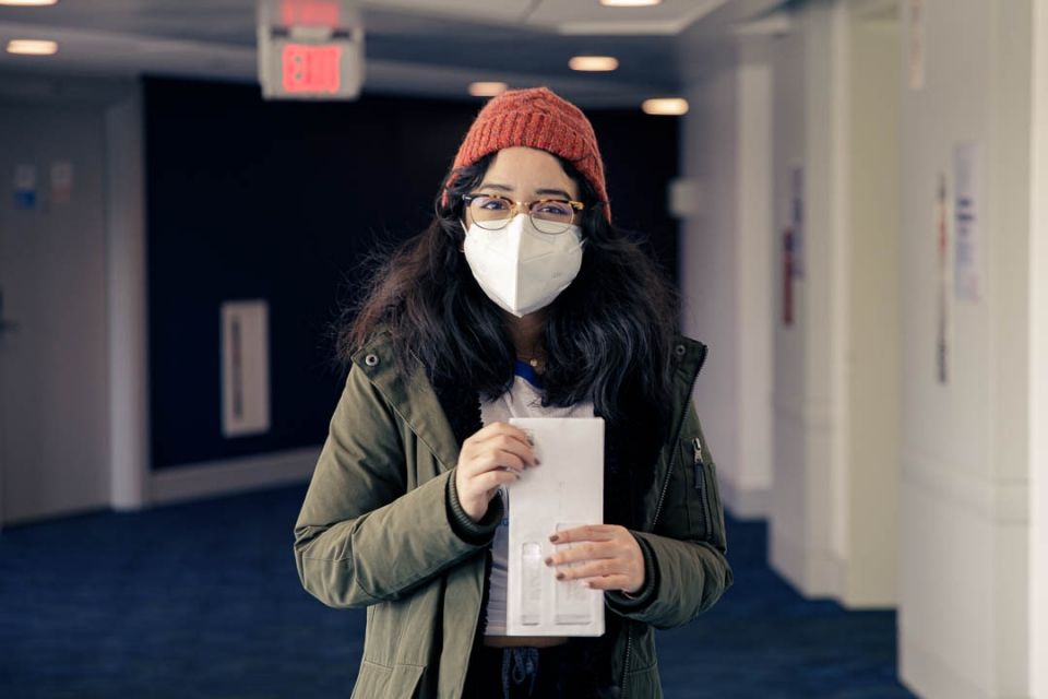 Student health ambassador posing with a mask on