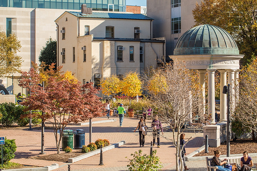 Kogan Plaza and Mid-Campus Walk in Fall