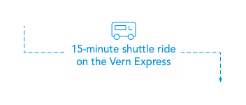 Foggy Bottom is a 15 minute shuttle ride away from Mount Vernon Campus on the Vern Express