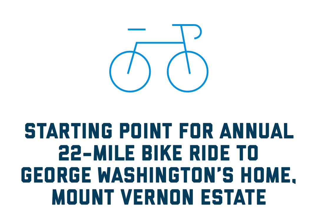 Starting point for annual 22-mile bike ride to George Washington's home, Mount Vernon Estate