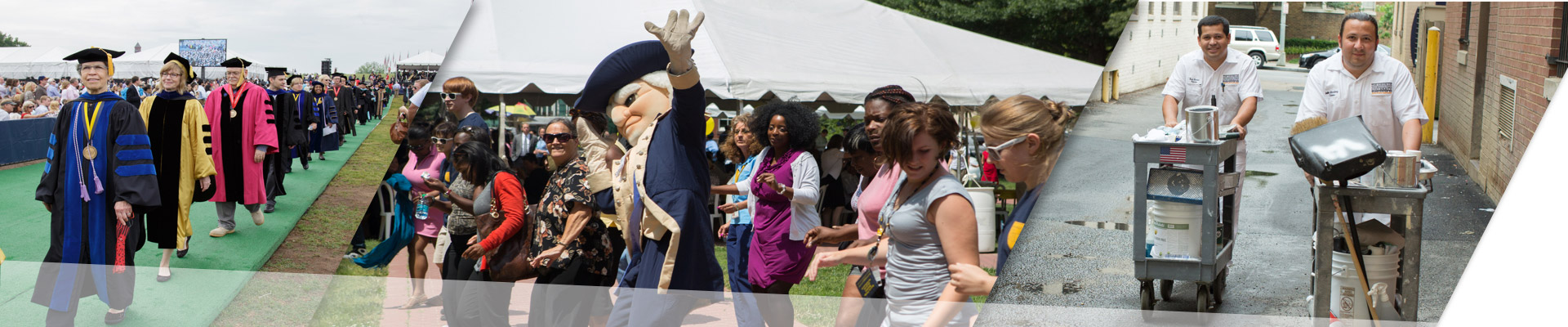 Faculty at Commencement; Staff at the Proud to be GW festival; gw staff heading to work