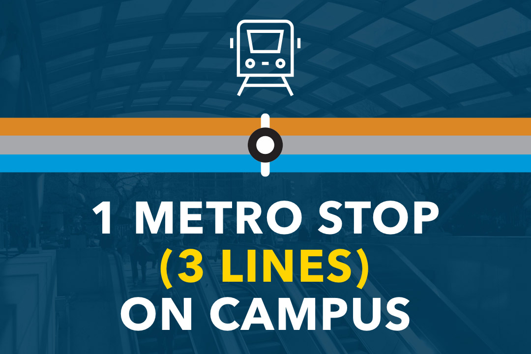 1 metro stop (3 lines) on campus