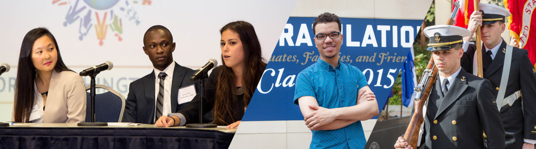 students speaking on a panel; student on campus; students in military uniform