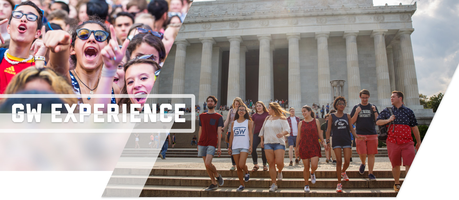 GW Experience: Students walking down the stops of the Lincoln Memorial