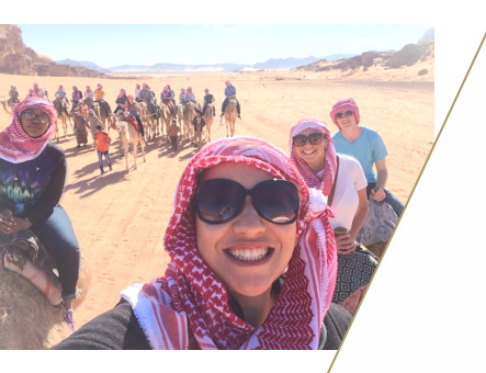 Nada Mohamed-Aly on a camel ride in Jordan while studying abroad