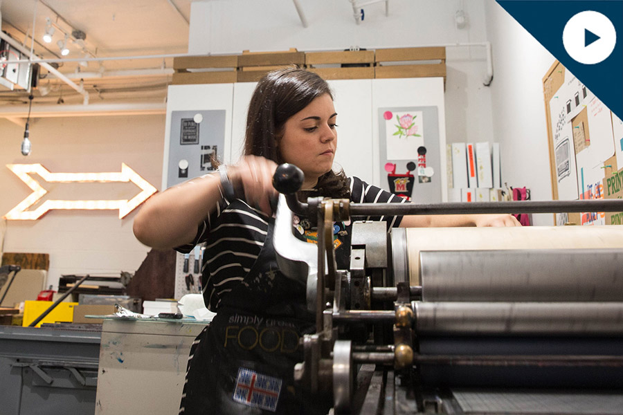 Video of Corcoran alum at her letterpress studio